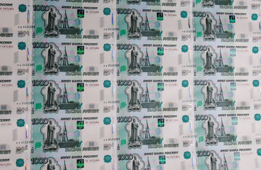 A sheet of 1000 Russian Rouble notes at Goznak printing factory in Moscow