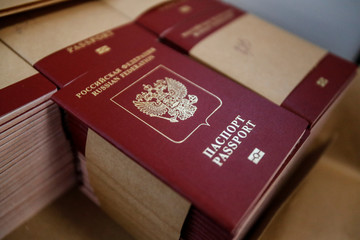 Blank Russian passports are pictured during production at Goznak printing factory in Moscow