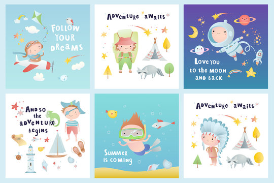 Set of baby cards. Vector set.