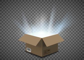 Fototapeta Open empty cardboard box with a glow inside obraz