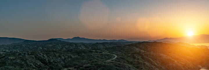 beautiful Mediterranean landscape sunset over the mountains