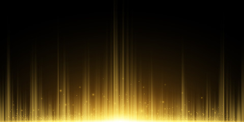 Wall Mural - Abstract background of golden rays. Light effect. Flying magical dust. Golden Glow in the dark. Vector illustration
