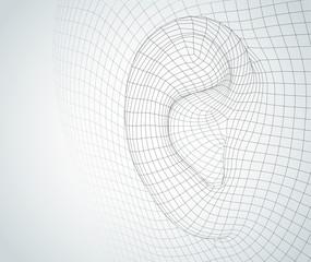 Fototapeta vector human ear. hearing treatment, plastic surgery, implantation obraz