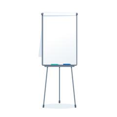 Vector realistic blank flipchart with three legs