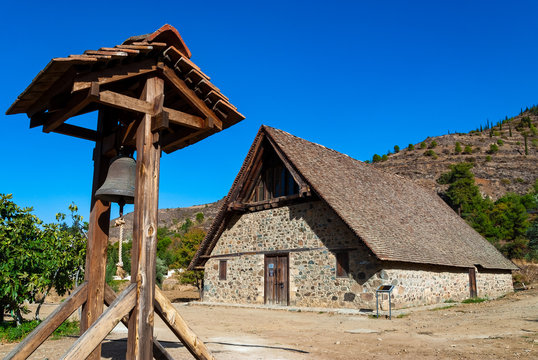 View of the church of Panagia Podithou, a listed UNESCO World Heritage Site on the Troodos range in Cyprus