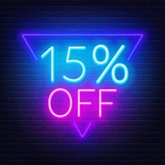 Fototapete - 15 percent off neon lettering. Vector illustration
