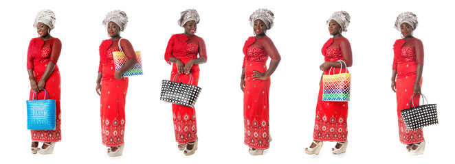 set of african woman in red taditional clothing with tote bags isolated Wall mural