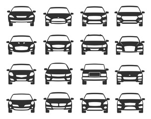 Deurstickers Cartoon cars Car front view black icon set, transportation