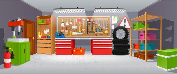 Garage background, building for a car to keep