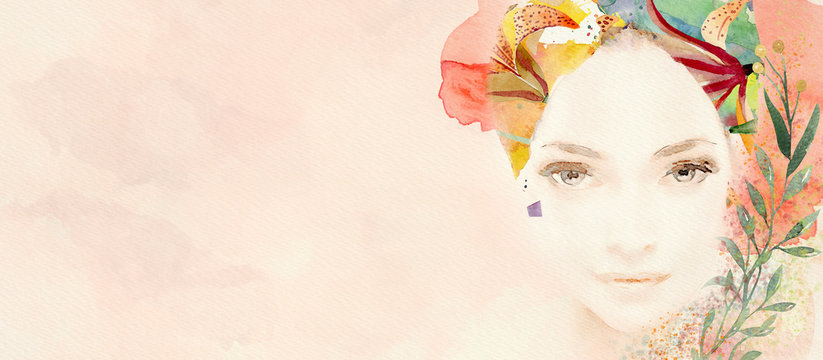 Watercolor abstract portrait of girl. Fashion background..