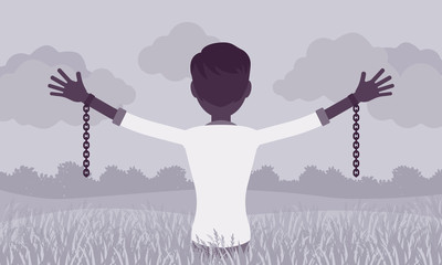 Unchained man with stretched out arms, rear view. Guy with removed chains set free, feeling personal power, freedom, liberation from slavery or restraint. Vector illustration, faceless character