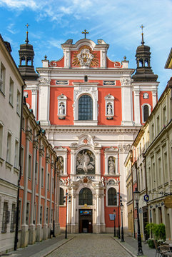 Historic baroque Basilica Minor church in Poznan