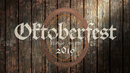 Oktoberfest 2019 Banner auf Holzhintergrund