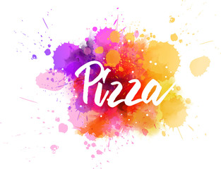 Pizza lettering on watercolor background