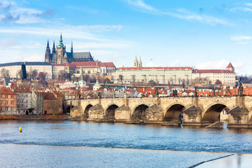 Wall Mural - Hradcany with Charles bridge, Prague, Czech Republic