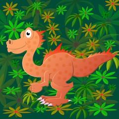 Photo sur Plexiglas Dinosaurs Two dinosaurs met in a wild prehistoric forest.