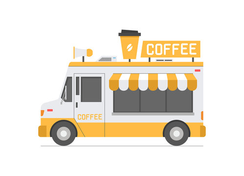 Coffee Truck. isolated on white background
