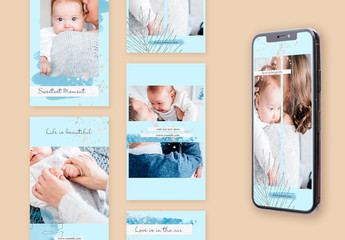 Social Media Story Layouts Set with Silver Accents