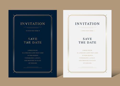 Vintage luxury invitation card with golden frame vector design