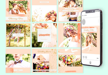 Social Media Post Layouts Set with Golden Accents