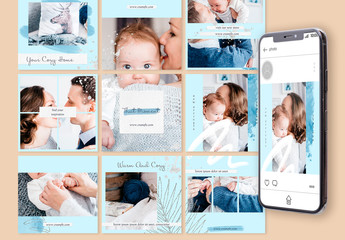 Social Media Posts Layout with Silver Accents