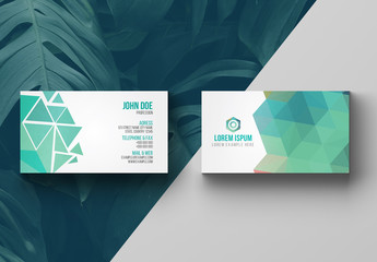 Blue and Dark Gray Business Card Layout