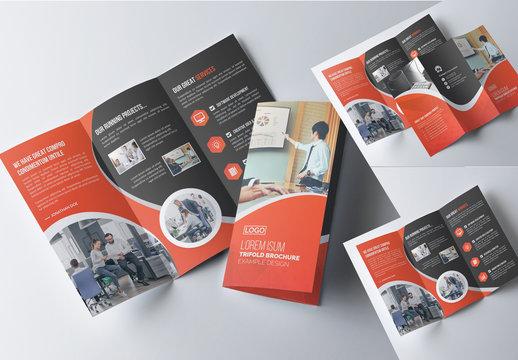 Orange and Dark Gray Business Brochure Layout