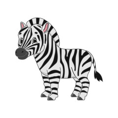 Striped zebra. Cute character. Colorful vector illustration. Cartoon style. Isolated on white background. Design element. Template for your design, books, stickers, cards, posters, clothes.