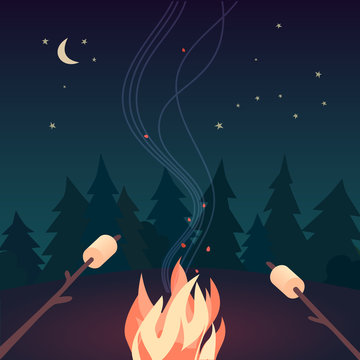 Marshmallow roasting hand drawn flat color vector