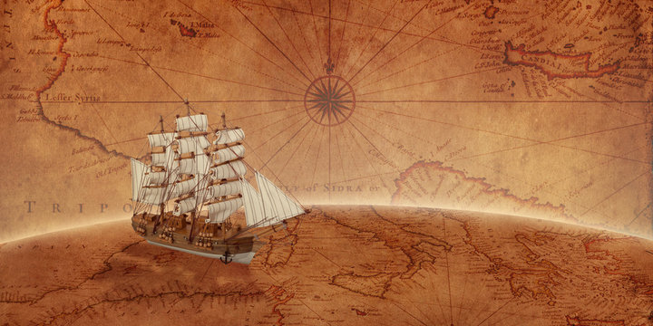 Old sailing ship on an old world map. Concept of sea adventure expedition.