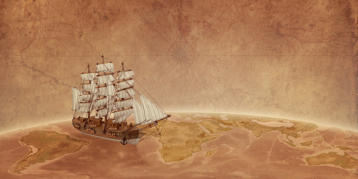 Ship on globe concept with old map paper in the background. Travel through the ocean. Free space for text.