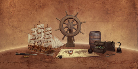 Türaufkleber Schiff Pirate things concept on an old world map. Ship, map, compass, treasure chest, rudder, telescope.