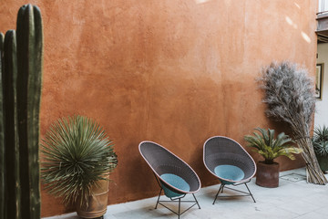 outdoor patio space with two empty chairs and potted cacti