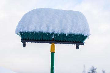 Overnight snow accumulation on a push broom