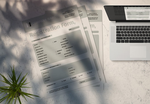Registration Form Layout with Green Accents