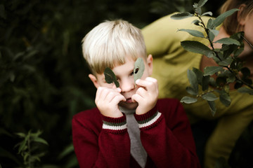 Boy holding leaves looking at camera while standing in forest