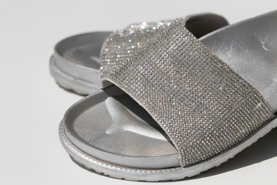 Silver slippers with rhinestones summer shoes