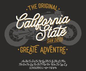 California. Vintage script font. Handmade font. Retro Typeface. Vector font illustration.