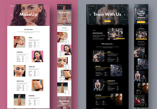 Desktop and Mobile Website Layout for a Gym and Salon