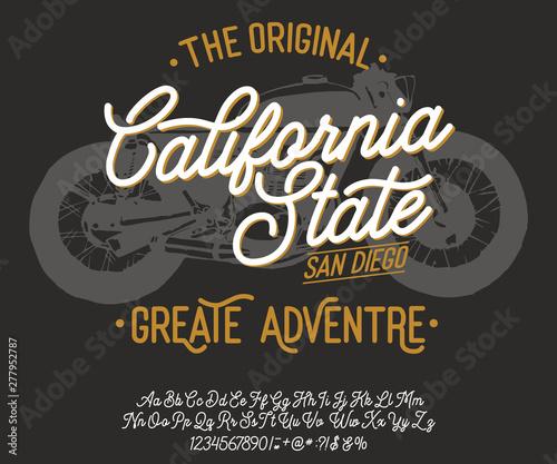 California  Vintage script font  Handmade font  Retro