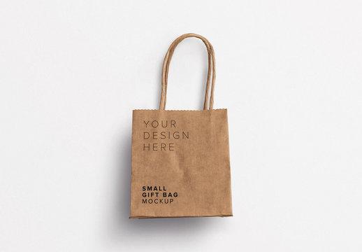 Small Paper Gift Bag Mockup