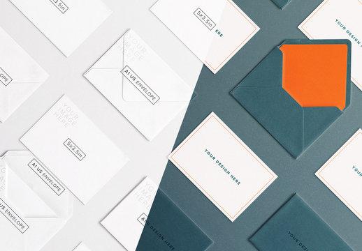Diagonally Arranged Cards and Envelopes Set Mockup