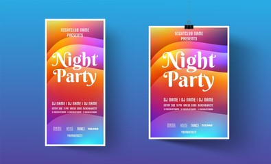 Poster or flyer template for night dance party. Invitations to events,show,concert.Layout design banner for music disco club. Backdrop design.Modern abstract background.Vector illustration