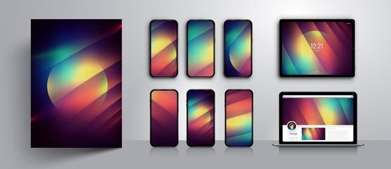 Abstract modern vector background design.Set of wallpaper templates for  smartphone screen.Concept design case.Vector illustration.Mockup smartphone,tablet,laptop.Background design.