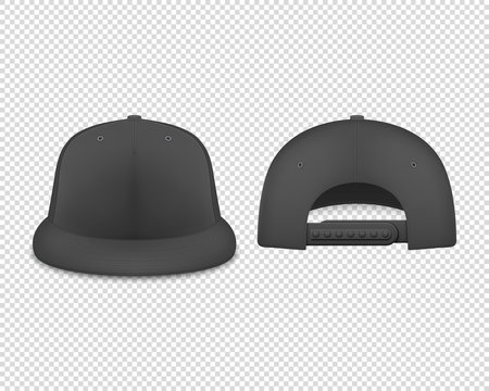 Vector 3d Realistic Render Black Blank Baseball Snapback Cap Icon Set Closeup Isolated on Transparent Background. Design Template for Mock-up, Branding, Advertise. Front and Back View