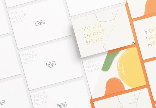 Alternating Diagonal Postcard Set Mockup