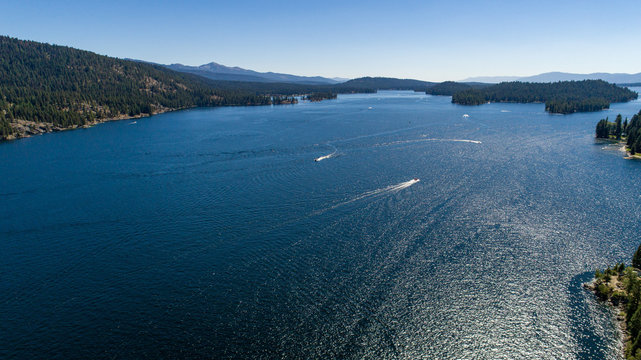 Scenic Aerial of Payette Lake in McCall, Idaho