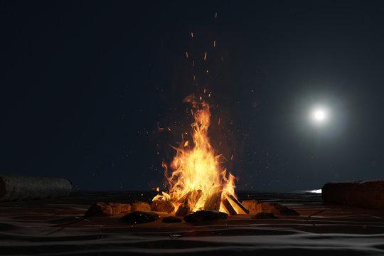 Lagerfeuer am Strand im Mondscheinlicht. 3D Rendering