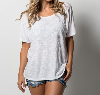 Young Woman in a White Tee Shirt