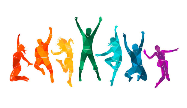 Colorful happy group people jump vector illustration silhouette. Cheerful man and woman isolated. Jumping fun friends background. Expressive dance dancing, jazz, funk, hip-hop